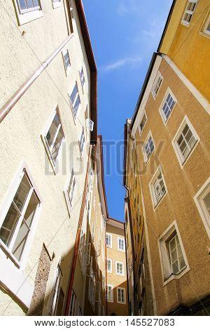 In between historic architecture in Salzburg Austria Europe.