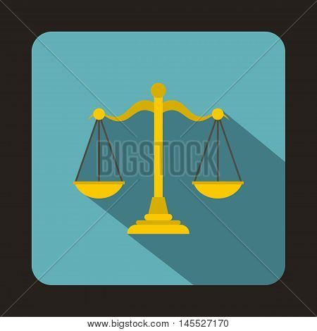 Gold scales of justice icon in flat style isolated with long shadow