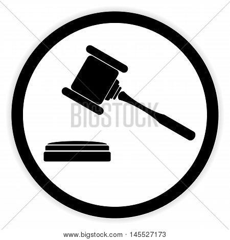 Judge gavel button on white background. Vector illustration.