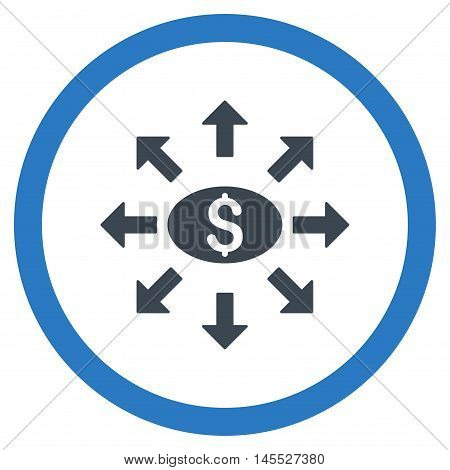 Mass Cashout vector bicolor rounded icon. Image style is a flat icon symbol inside a circle, smooth blue colors, white background.