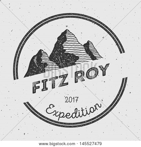 Fitz Roy In Andes, Chile Outdoor Adventure Logo. Round Expedition Vector Insignia. Climbing, Trekkin
