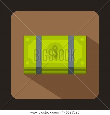 Dollar banknotes bills icon in flat style isolated with long shadow