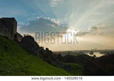 Cloudscape over confluence of Sava and Danube river in Belgrade, Serbia