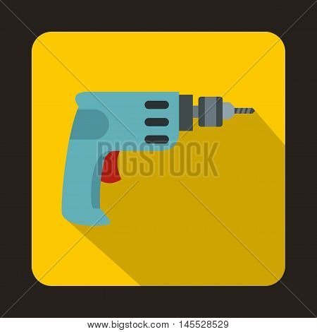 Cordless drill icon in flat style isolated with long shadow