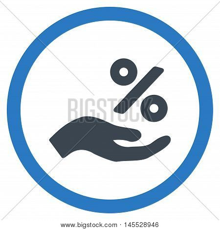 Percent Offer Hand vector bicolor rounded icon. Image style is a flat icon symbol inside a circle, smooth blue colors, white background.