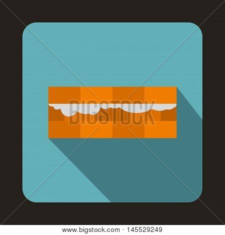 Construction bricklayer, building walls with bricks icon in flat style isolated with long shadow