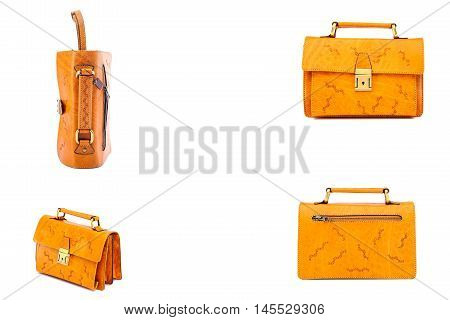 SET   leather bright brown briefcase .Isolated on the white background.Men's buisiness fashion accessories.