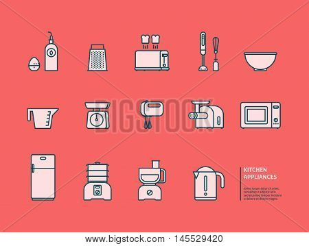 Essential kitchen appliances vector icons set. Trendy linear style