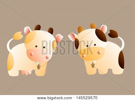 Cute cartoon cow and bull with a spots and bells, on a light brown background