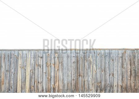 Wooden grey fence background isolated over white background. Fence texture concept