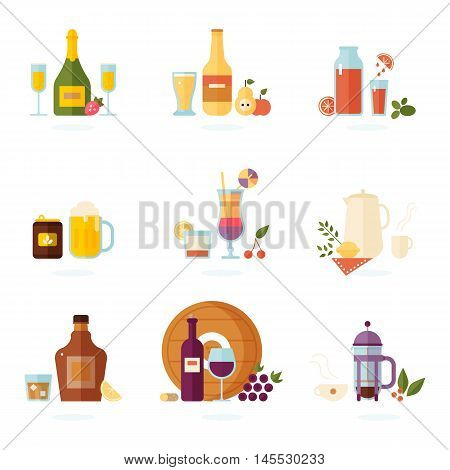 Drink icon set. Alcoholic and non-alcoholic beverages - tea champagne lemonade juice wine coffee cocktails cider and so. Vector illustration isolated on white.