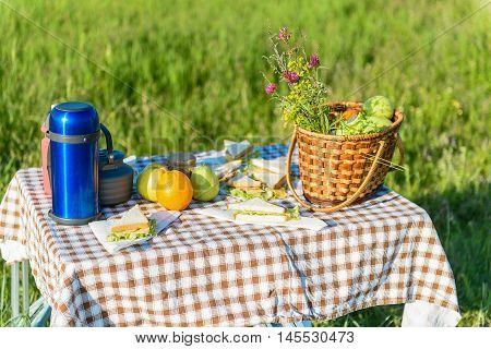 Let is have bite. Close up of picnic table standing on grass in field with products for lunch on it
