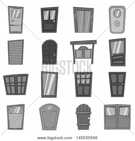 Door icons set in black monochrome style. Front doors to houses and buildings set collection vector illustration