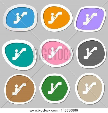 Escalator Icon Symbols. Multicolored Paper Stickers. Vector