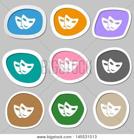 Mask Icon Symbols. Multicolored Paper Stickers. Vector
