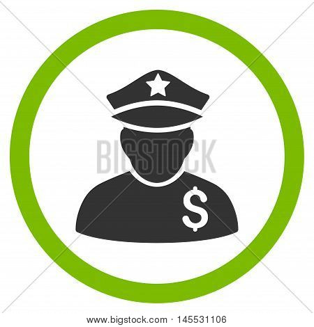 Financial Policeman vector bicolor rounded icon. Image style is a flat icon symbol inside a circle, eco green and gray colors, white background.