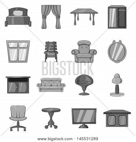 Furniture icons set in black monochrome style. Interior decorations set collection vector illustration
