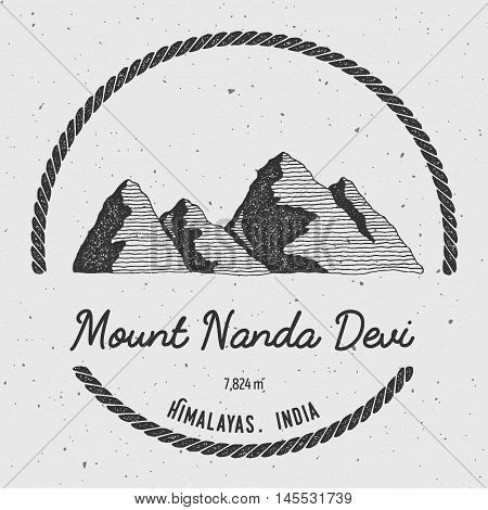 Nanda Devi In Himalayas, India Outdoor Adventure Logo. Round Trekking Vector Insignia. Climbing, Tre