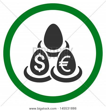Currency Deposit Diversification vector bicolor rounded icon. Image style is a flat icon symbol inside a circle, green and gray colors, white background.