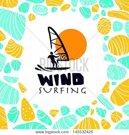 Vector flat wind surfing logo illustration. Vintage, retro style. Surfer silhouette. Human figure. Extreme sport, summer resting. Summer banner, poster, placard, travel card design template.