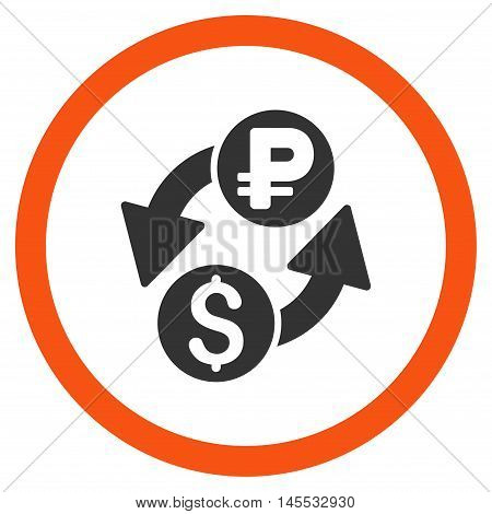 Dollar Rouble Exchange vector bicolor rounded icon. Image style is a flat icon symbol inside a circle, orange and gray colors, white background.