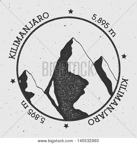 Kilimanjaro In Eastern Rift, Tanzania Outdoor Adventure Logo. Round Stamp Vector Insignia. Climbing,
