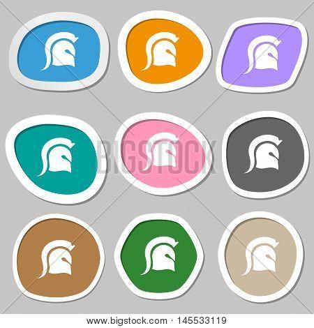 Spartan Helmet Icon Symbols. Multicolored Paper Stickers. Vector