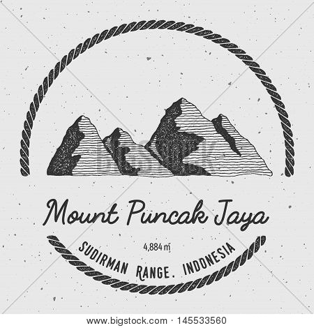 Puncak Jaya In Sudirman Range, Indonesia Outdoor Adventure Logo. Round Trekking Vector Insignia. Cli