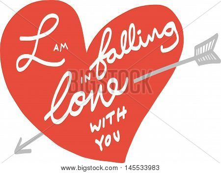 I am falling in love with you heart and arrow illustration