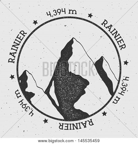 Rainier In Cascade Range, Usa Outdoor Adventure Logo. Round Stamp Vector Insignia. Climbing, Trekkin