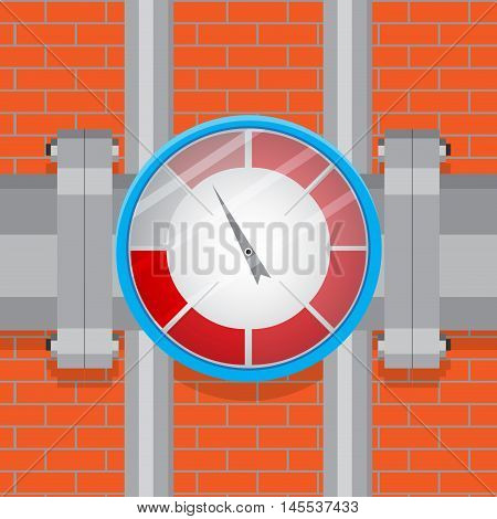 Indicator on the pipe with spectrum. Index and pointer industrial indicator for measure vector illustration