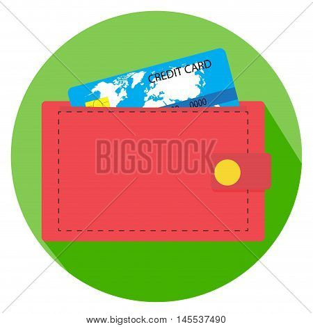 Flat icon wallet with money. Purse and wallet icon wallet money with credit card vector illustration
