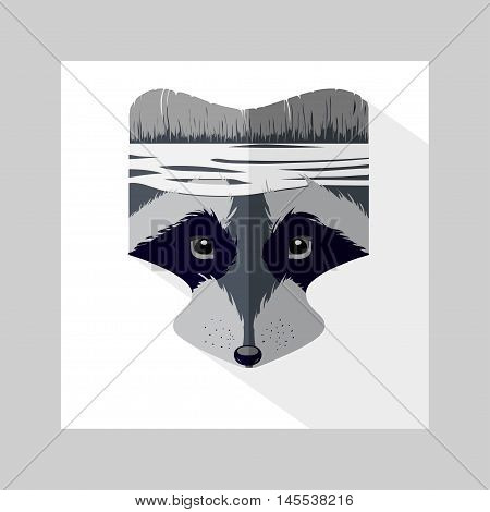 Vector cartoon raccoon head. Forest Fighter. Icon with long shadow for logo web site design app UI. Animal illustration for posters greeting cards book cover flyers banner web game designs.