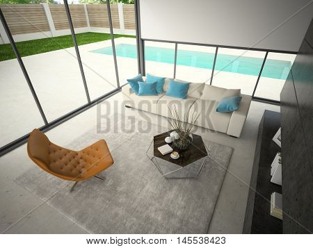 Interior of hous with swiming pool 3D rendering