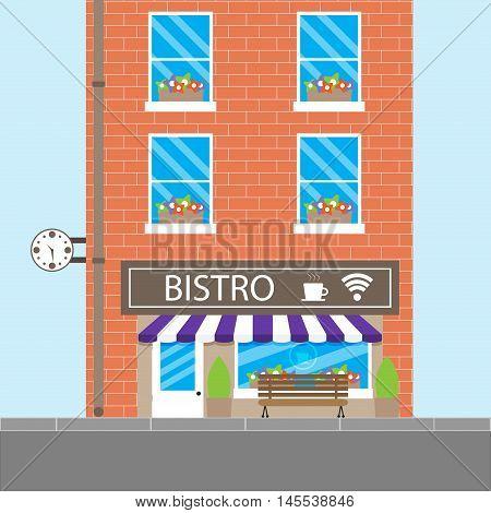 Bistro building cafeteria. Cafe or restaurant bistro cafe coffee shop vector illustration