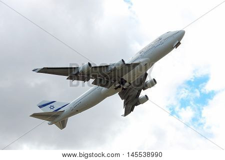 Kiev Region Ukraine - October 2 2011: El Al El Al Boeing 747-400 plane is taking off into cloudy sky