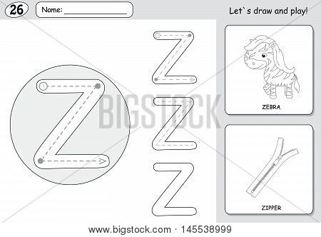 Cartoon Zebra And Zipper. Alphabet Tracing Worksheet: Writing A-z And Educational Game For Kids