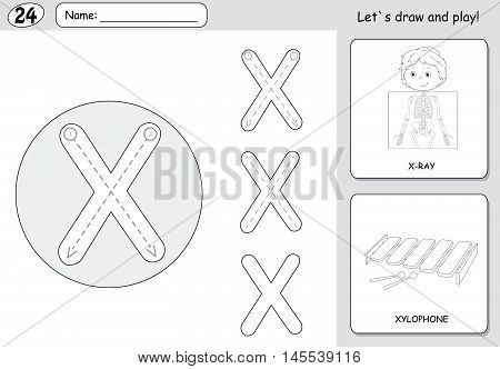 Cartoon X-ray Boy And Xylophone. Alphabet Tracing Worksheet: Writing A-z And Educational Game For Ki