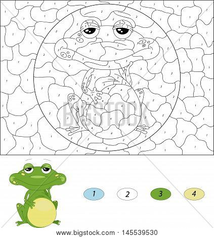 Cartoon Green Frog. Color By Number Educational Game For Kids