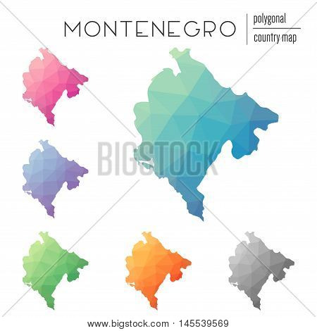 Set Of Vector Polygonal Montenegro Maps. Bright Gradient Map Of Country In Low Poly Style. Multicolo