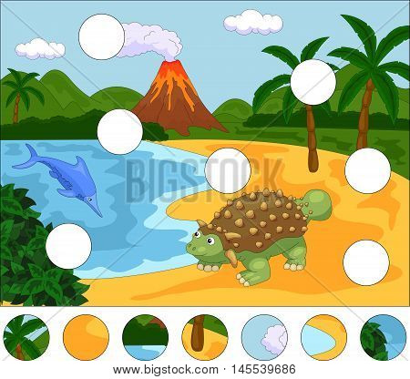 Funny Cute Ichthyosaurus And Ankylosaurus On The Background Of A Prehistoric Nature. Complete The Pu
