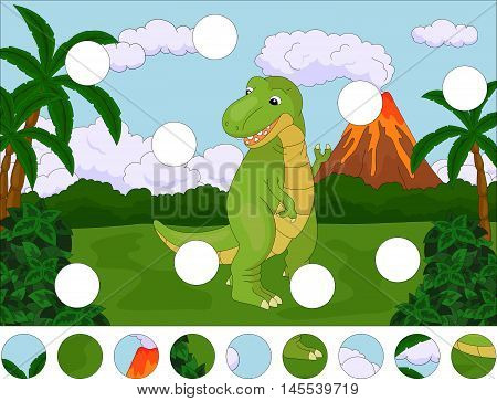Funny Cute Tyrannosaurus On The Background Of A Prehistoric Nature. Complete The Puzzle And Find The