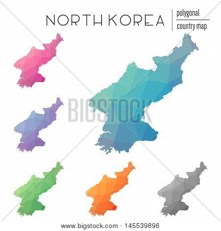 Set Of Vector Polygonal Korea, Democratic People's Republic Of Maps.. Bright Gradient Map Of Country