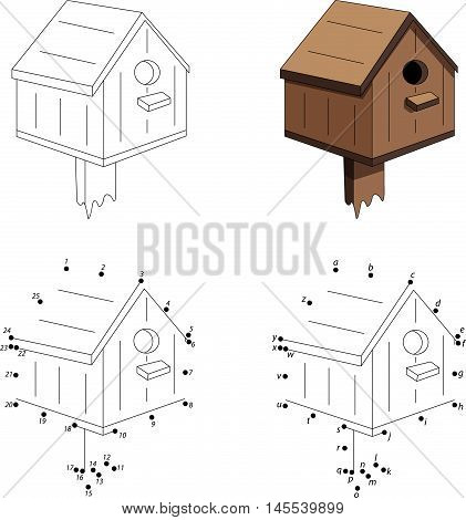 Cartoon Nesting Box. Coloring Book And Dot To Dot Game For Kids
