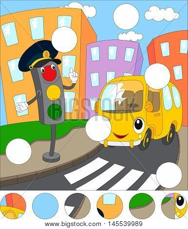 Cartoon Bus And Traffic Lights. Complete The Puzzle And Find The Missing Parts Of The Picture. Game