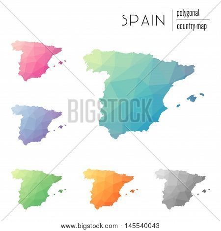 Set Of Vector Polygonal Spain Maps. Bright Gradient Map Of Country In Low Poly Style. Multicolored S