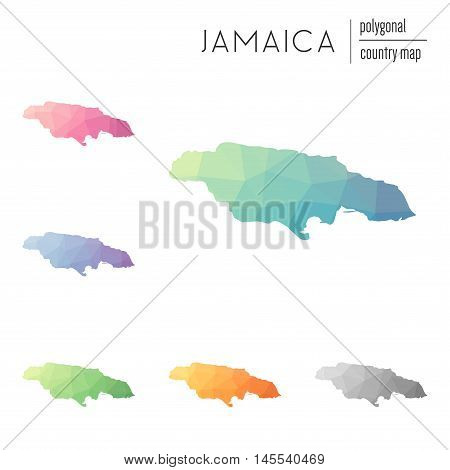Set Of Vector Polygonal Jamaica Maps. Bright Gradient Map Of Country In Low Poly Style. Multicolored