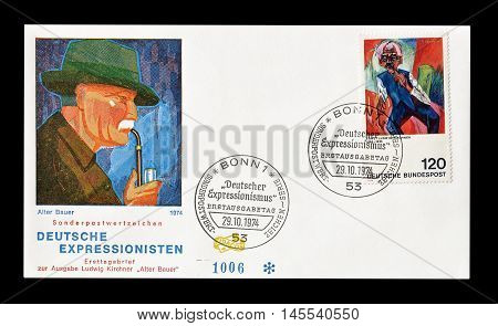 GERMANY - CIRCA 1974 : Cancelled First Day Cover letter printed by Germany, that shows painting by Alter Bauer.