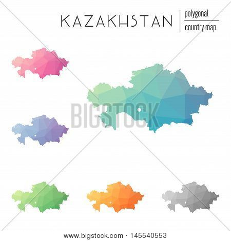 Set Of Vector Polygonal Kazakhstan Maps. Bright Gradient Map Of Country In Low Poly Style. Multicolo