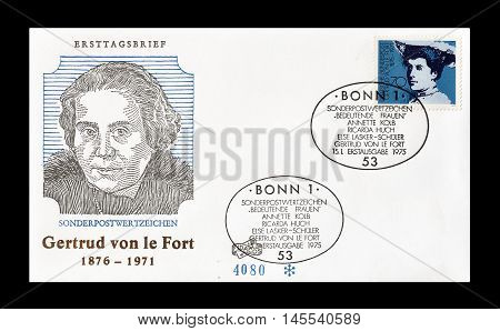 GERMANY - CIRCA 1975 : Cancelled First Day Cover letter printed by Germany, that shows Gertrud von le Fort.